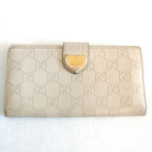 GUCCI Guccissima Heart Continental Wallet Off Whit
